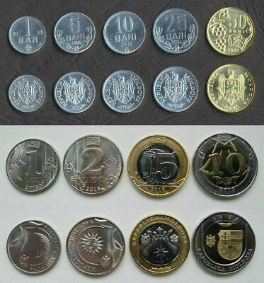 R* MOLDOVA 1-10 LEI COMPLETE SET OF 4 COINS 2018 UNC DETAILS