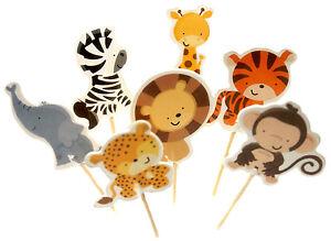 24-Zoo-Tiere-Muffinspiesse-CupcakeTopper-Tortenfigur-Zirkus-Geburtstag-Loewe-Zebra