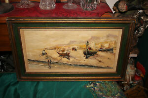 Antique-Nautical-Oil-Painting-Fishing-Boats-Sand-Water-Buildings-Signed-Framed