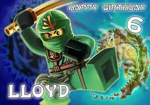Détails Sur Personnalisé Lego Ninjago Lloyd Carte D Anniversaire Afficher Le Titre D Origine