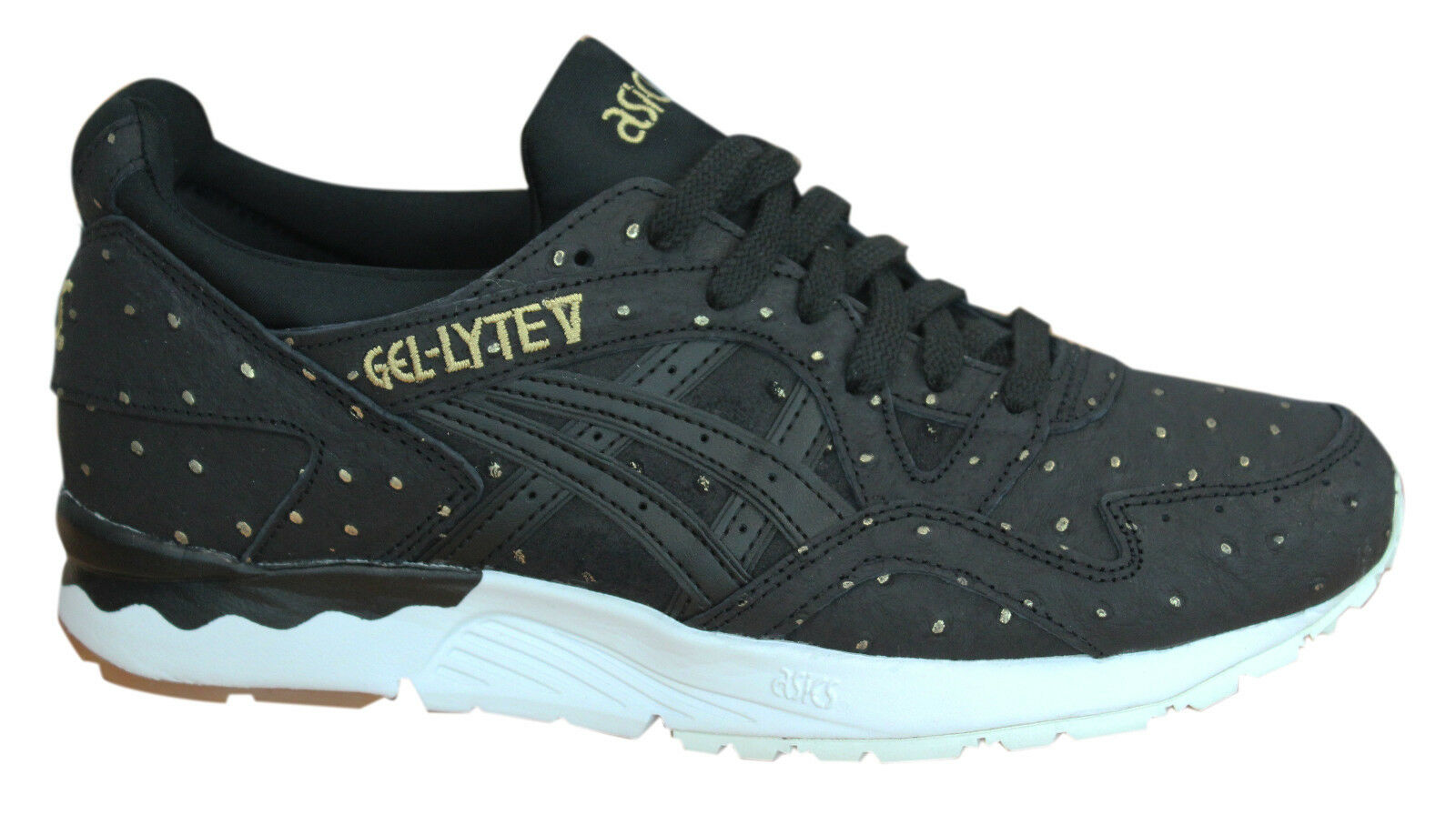 Asics Gel-Lyte V Lace Up Black White Leather Womens Trainers H785L 9090 P3 The latest discount shoes for men and women