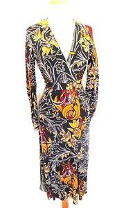 Zara-Women-039-s-floral-print-long-sleeve-wrap-dress-Size-XS