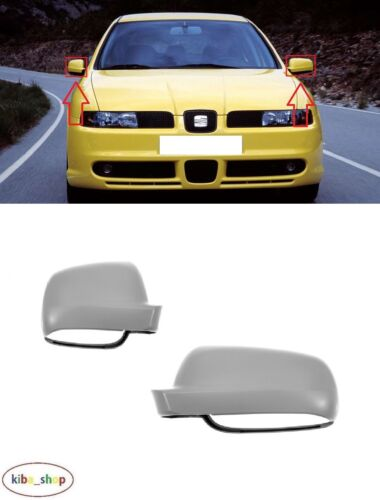 R PRIMED SEAT LEON 1M1 1999-2003 NEW WING MIRROR COVER CAPS PAIR L