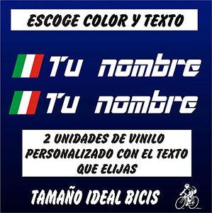2X PEGATINA PERSONALIZABLE BANDERA ITALIA CON NOMBRE VINILO BICI BIKE BICICLETA