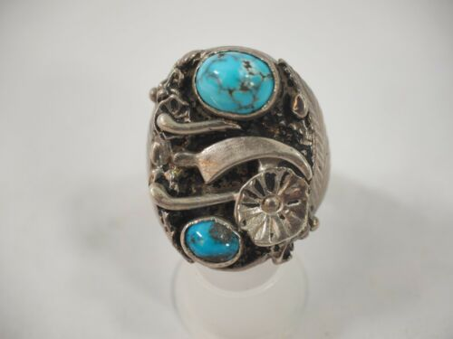 Sharp Vintage Two stone Turquoise Swirl design Ring Sterling Silver size 11