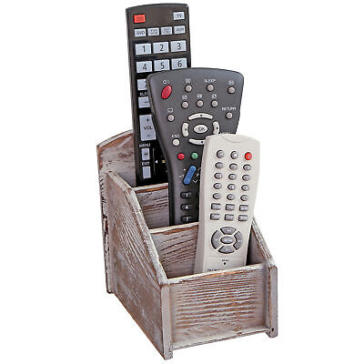 Rustic Wood Remote Control Caddy 3 Slot Office Supply Storage Rack Brown
