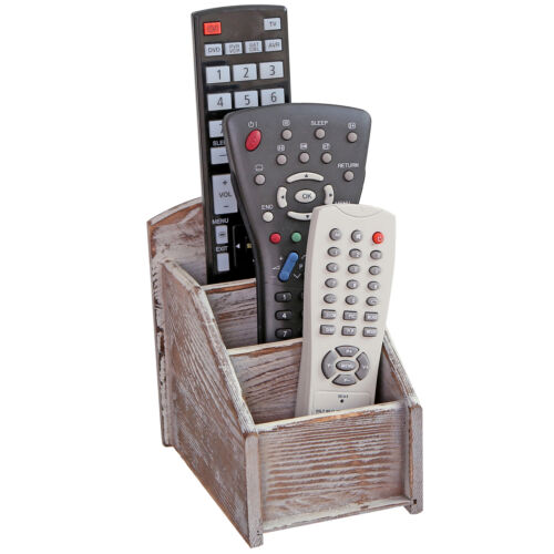 Rustic Wood Remote Control Caddy Brown 3 Slot Office Supply Storage Rack