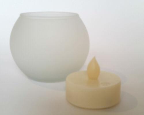 LED Glas Windlicht Glasteelicht LED Kerze bianca oder multicolore