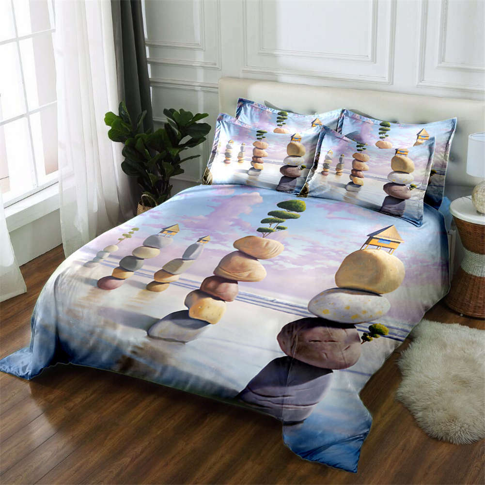 Stone Stronghold 3D Printing Duvet Quilt Doona Covers Pillow Case Bedding Sets