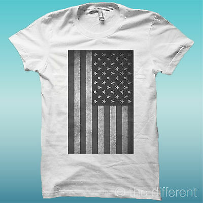 """Puntuale T-shirt """" Bandiera America Flag """"bianco The Happiness Is Have My T-shirt New"""