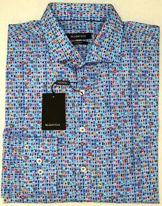 NWT-179-Bugatchi-LS-Shirt-Shaped-Fit-Mens-XL-XXL-Blue-Red-Yellow-Geometric-NEW