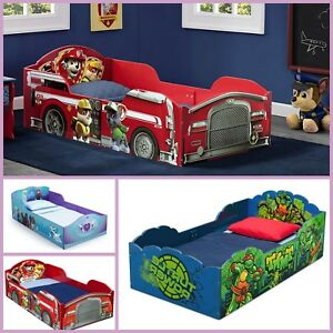 reputable site 75933 9850a Details about Wood Toddler Bed Mattress Kids Bedroom Furniture Disney Cars  Frozen Paw Patrol