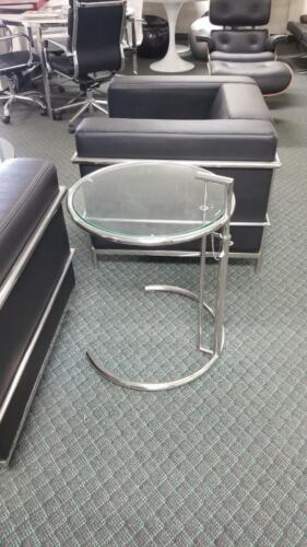 Eileen Gray Adjustable Height End Side Table w// clear tempered glass #3015