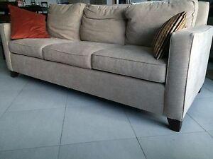 Astonishing Details Zu Upholstered Pottery Barn 3 Seat Sofa Beige Interior Design Ideas Ghosoteloinfo