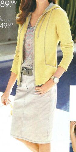 52 50 Strickblazer Blazer Strickjacke Jacke Kapuze Baumwolle gelb//grau Gr