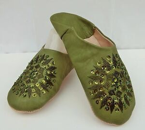 MOROCCAN-OLIVE-GREEN-LEATHER-SEQUINED-SLIPPERS