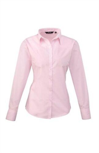 Damen Poplin Langarm Bluse Business Gr.34 bis 48 in 30 Farben Easy Care PR300