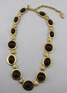 KENNTH-JAY-LANE-Gold-Tone-Purple-Cabochon-Disc-Chunky-Statement-Necklace-Signed
