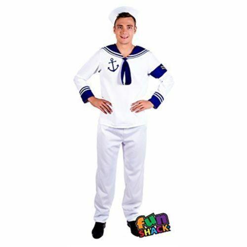 Fancy Dress Adult Navy Uniform Marine 1980s Outfit Mens Sailor Mate Costume