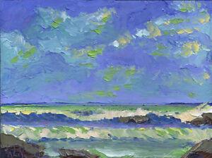 SUN-PEEK-ONE-Original-Expression-Seascape-Ocean-Art-Painting-12x16-080917-KEN