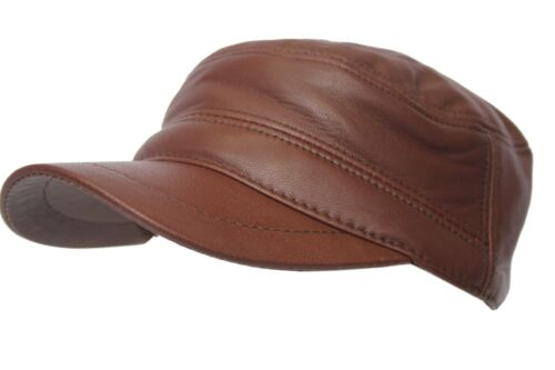 Beret Cap Ox Gatsby Leather Castro Brown Bunnet Men Real Newsboy FxOPq7T