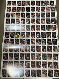 1991-92 Hoops Basketball Uncut Sheet Magic Johnson Rodman Bird Miller Malone
