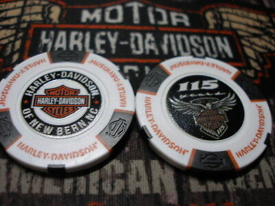 Black /& Orange 115th Anniversary Poker Chip New Bern Harley Davidson
