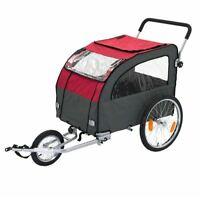 Dog Bike Trailer Pet Carrier Basket & Convertible Pushchair W/ 4 Viewing Windows