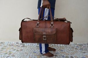 Mens-Leather-Duffle-Weekend-Bag-Sports-Gym-Yoga-Bag-Overnight-Travel-Luggage