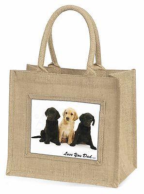 Labrador Welpen 'Liebe dich Papa' Große Natürliche Jute-einkaufstasche Chris,