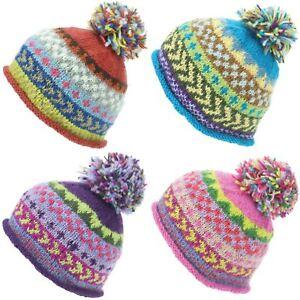 221cebb13e6 Beanie Hat Wool Cap Bobble Warm Winter Pattern Bright LoudElephant ...