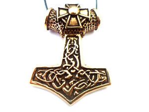 Large Chunky Bronze Thors Hammer With Iron Cross Motif Viking