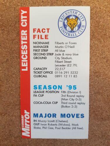 Espejo de domingo 1996 Premier League accesorios hecho Tarjeta de Fútbol de archivos Varios Equipos