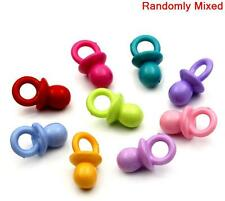 50 MIXED ACRYLIC DUMMY PACIFIERS PENDANTS~Baby Showers~Pram Charms~Chains (1E)