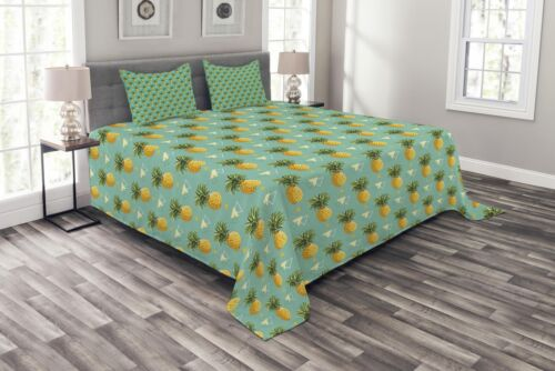 Pineapple Quilted Bedspread /& Pillow Shams Set Geometric Hipster Print