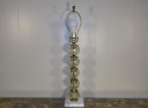 Stacked Glass Ball Table Lamp On Marble Base Art Deco Era W Finial