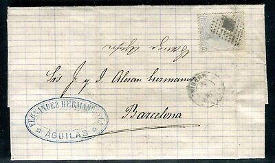 Espagne - Lettre ( Avec Texte ) De Aguilas Pour Barcelone En 1872