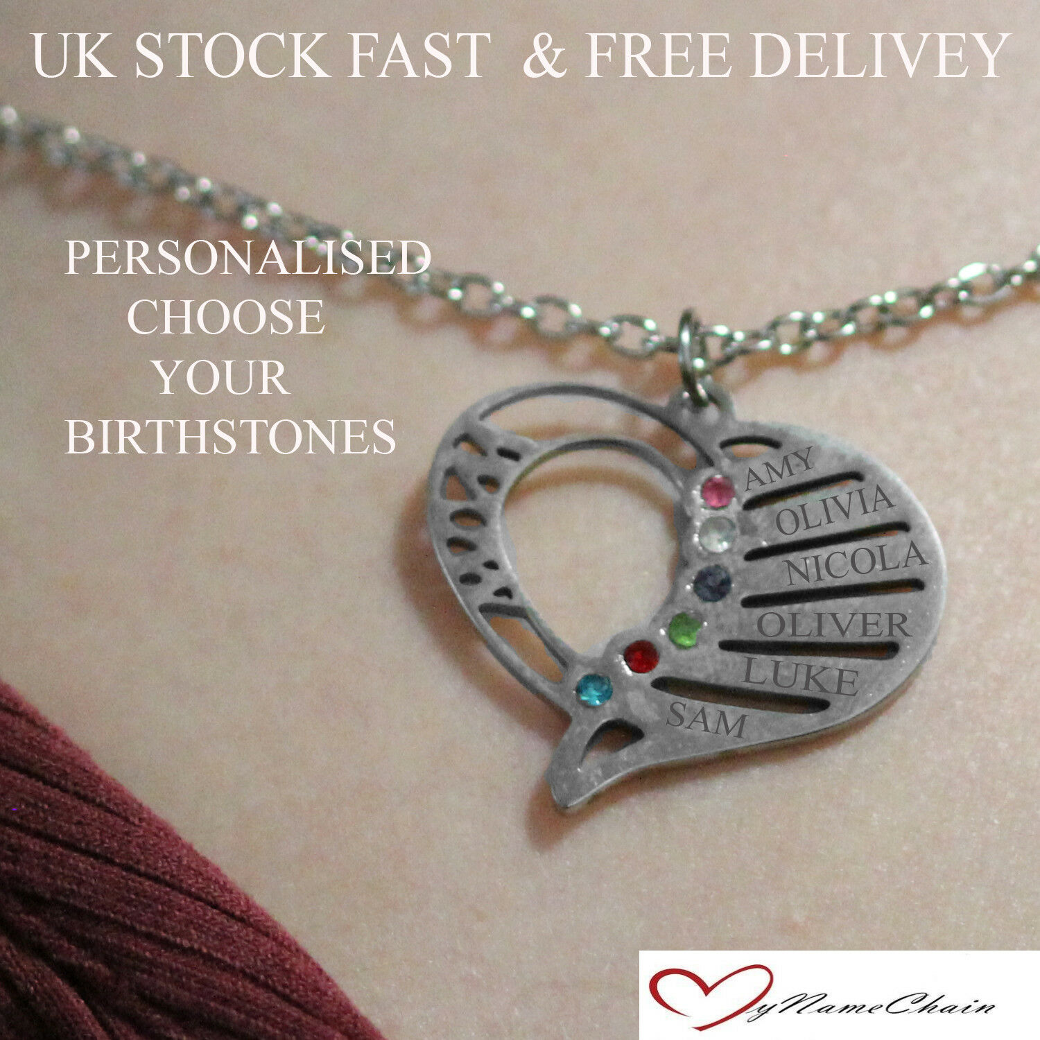 a1cebb103b282 Personalised Heart Birthstone Name Necklace Any 6 Names Silver Jewellery  Gift UK