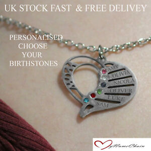 877b3bd48628 Image is loading Personalised-Heart-Birthstone-Name-Necklace-Any-6-Names-