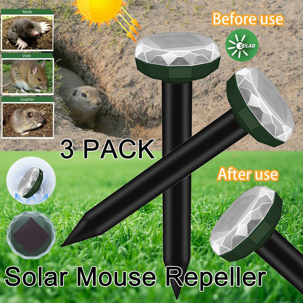 3x Solar Powered Ground Rodent Mole Mice Mouse Ultrasonic Rat Repeller Outdoor