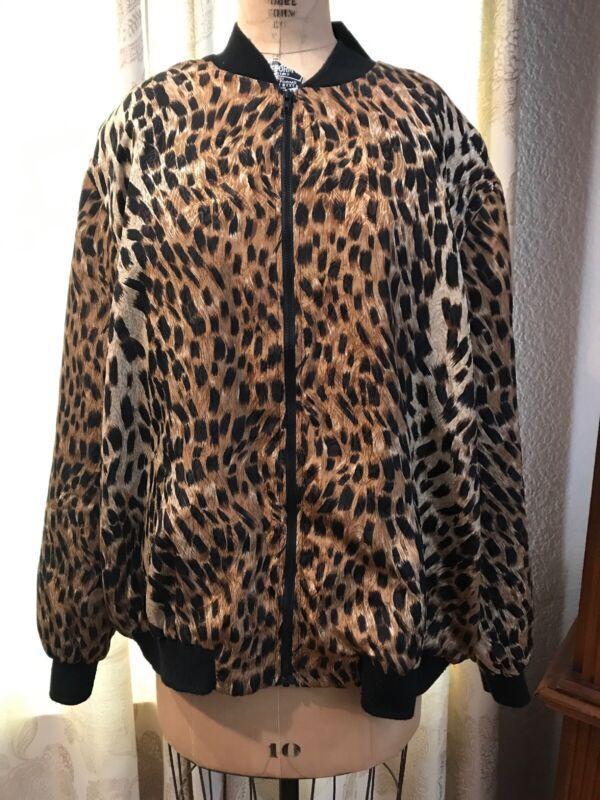 Vintage 90's Stephanie Thomas Sport Track Jacket Large Animal Printed