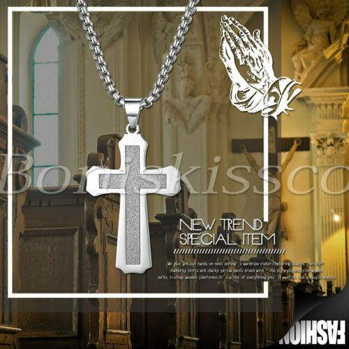 Men/'s Classic Stainless Steel Religious Cross Crucifix Pendant Necklace Chain