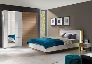Schlafzimmer Komplett Weiß / Wildeiche Bett mit LED ...