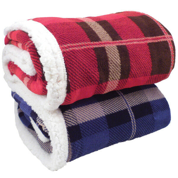 Winter Warm Plaid Lambswool Blanket Throws Bed Sofa Couch Blankets