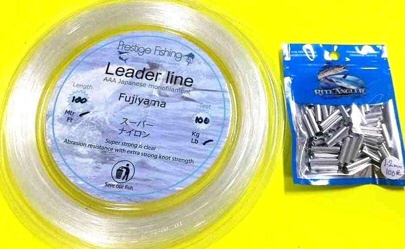 Fishing leader line 1 x 100lb  100 x1.2 mm x 18mm pk of rite angler Alum crimps