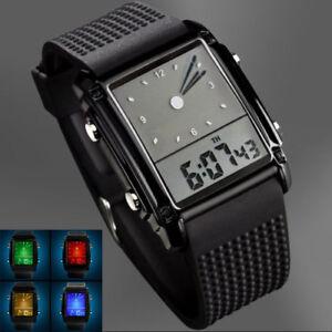 Casual-Waterproof-Men-039-s-Digital-Analog-LED-Light-Hands-Rubber-Alarm-Wrist-Watch