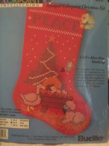 Bucilla-Colorpoint-Paintstitching-Stamped-Christmas-Stocking-Kit-63727-NEW