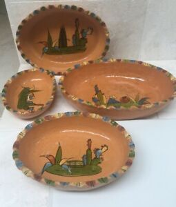 Vintage Set of 4 Yellow Clay Painted Oval Mexican Pottery Nesting Bowls; fluted