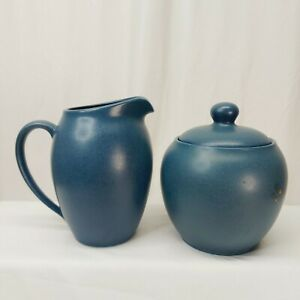 Noritake Colorwave Blue Sugar Bowl w/Lid + Creamer Stoneware Coffee Tea