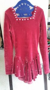 Winter Sports Sporting Goods Beautiful Ice Skating Performance Dress-burgundy Velvet-swarovsky Crysta sz 8-10 Terrific Value